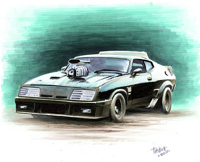 Post Apocalyptic Painting - Mad Max's V8 Interceptor by Billy Tackett
