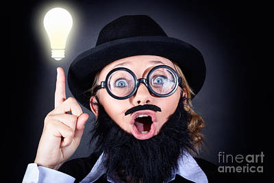 Mad Professor With Light Bulb Breakthrough Art Print