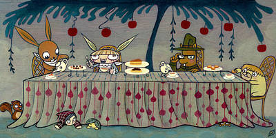 Art Print featuring the painting Mad Tea Party by Kaori Hamura Long