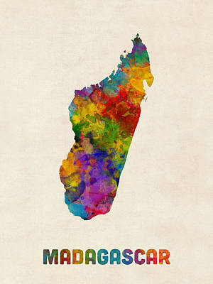 Map Of Africa Digital Art - Madagascar Watercolor Map by Michael Tompsett