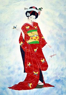 Watercolor. Butterfly Painting - Madam Butterfly Asian Art  by John YATO