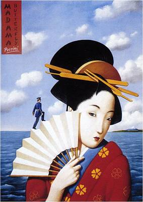 Fan Mixed Media - Madam Butterfly Puccini - Japanese Kimono - Vintage Advertising Poster by Studio Grafiikka