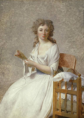 Stitching Painting - Madame De Pastoret And Her Son by Jacques Louis David
