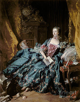 Pen Painting - Madame De Pompadour by Francois Boucher