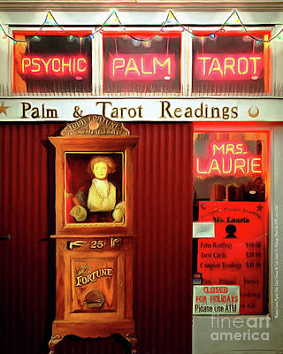 Wingsdomain Digital Art - Madame Lauries Psychic Palm Tarot Fortune Be Told Closed For Holiday Please Use Atm Circa 2016 V2 by Wingsdomain Art and Photography