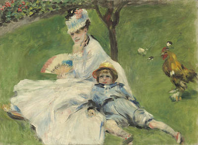 Madame Monet And Her Son Art Print by Pierre Auguste Renoir