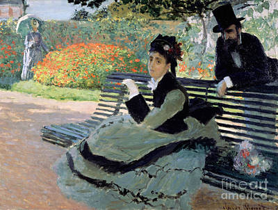 Madame Monet On A Garden Bench Art Print by Claude Monet