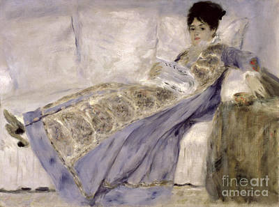 Madame Monet On A Sofa Art Print by Pierre Auguste Renoir