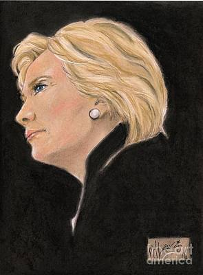 Female Face Drawing - Madame President by P J Lewis