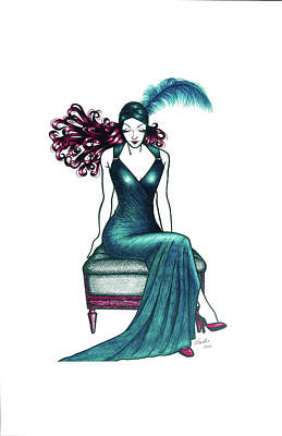 Red Gown Drawing - Madame Teal by Colleen Moxy Murphy