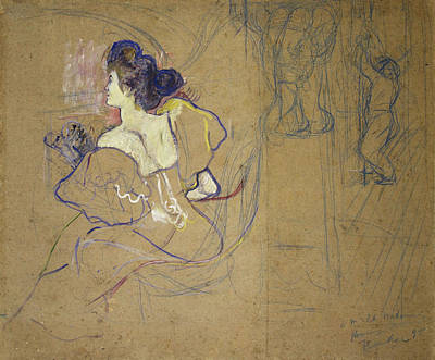 Make-up Painting - Madame Thadee Natanson At The Theater by Henri de Toulouse-Lautrec