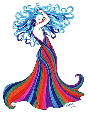 Red Gown Drawing - Madame Vespertine by Colleen Moxy Murphy