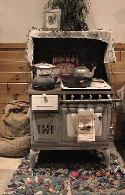 Antique Wood Burning Stove Photograph - Maddie's Old Stove by Nancy TeWinkel Lauren