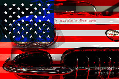Made In The Usa . Chevy Corvette Art Print by Wingsdomain Art and Photography