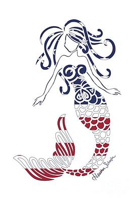 Digital Art - Made In The Usa Tribal Mermaid by Heather Schaefer