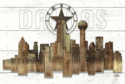 Made-to-order Dallas Texas Skyline Wall Art Original