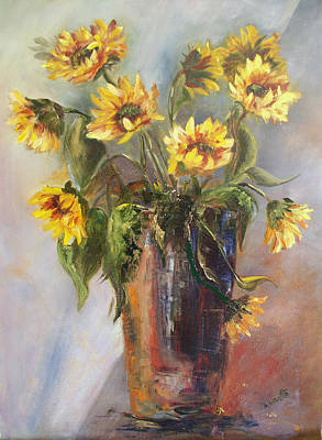 Madelaine's Sunflowers Art Print by Jeanette Fowler