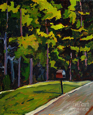 Small Town Scene Painting - Madelines Post Box by Charlie Spear