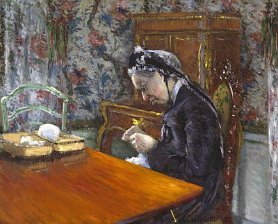 Old Lady Painting - Mademoiselle Boissiere Knitting by Gustave Caillebotte