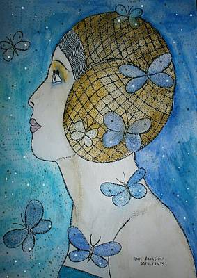 Dernier Painting - Mademoiselle Papillons by Anne Bazabidila