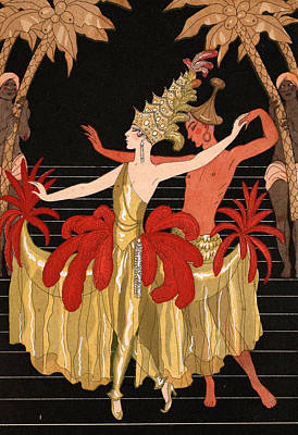 Stylish Drawing - Mademoiselle Sorel At The Grand Prix Ball by Georges Barbier