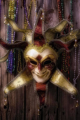 Madi Gras Mask And Beads Art Print