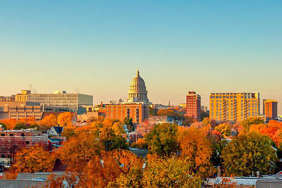 Photograph - Madison Autumn Skyline by Todd Klassy