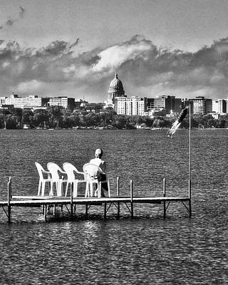 Photograph - Madison Capitol Across Lake Mendota - Black And White by Steven Ralser