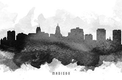 Madison Painting - Madison Cityscape 11 by Aged Pixel