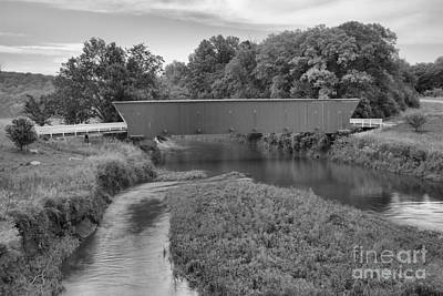 Photograph - Madison County Covered Bridge Landscape Black And White by Adam Jewell