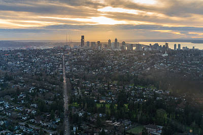 Skylines Royalty-Free and Rights-Managed Images - Madison Park towards the Seattle Skyline by Mike Reid
