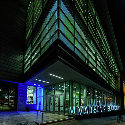 Photograph - Madison Public Library At Night by Randy Scherkenbach