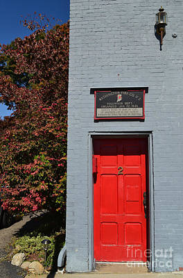 Southern Indiana Autumn Photograph - Madison Red Fire House Door by Amy Lucid