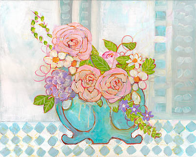 Floral Arrangement Painting - Madison Rose Flowers by Blenda Studio