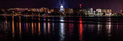 Photograph - Madison Skyline At Night by Randy Scherkenbach