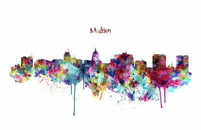 Art Print featuring the mixed media Madison Skyline Silhouette by Marian Voicu