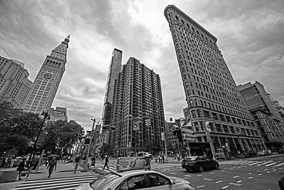 Photograph - Madison Square Flatiron And Clock Tower New York Ny Black And White by Toby McGuire