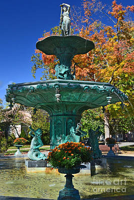 Southern Indiana Autumn Photograph - Madison Water Fountain In Fall by Amy Lucid