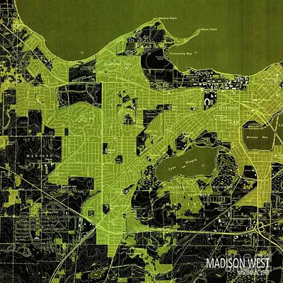 Old Map Digital Art - Madison West Green Old Map, Year 1959 by Pablo Franchi