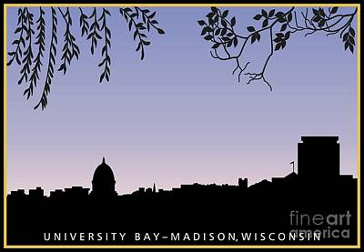 Capitol Building Digital Art - Madison, Wi Skyline Across University Bay At Sunrise by R V James