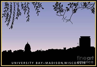 Capitol Building Digital Art - Madison, Wi Skyline Across University Bay At Sunrise by R V James