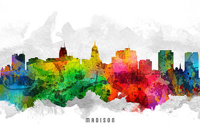 Madison Painting - Madison Wisconsin Cityscape 12 by Aged Pixel