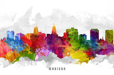 Madison Wisconsin Cityscape 13 Art Print by Aged Pixel