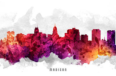 Towns Digital Art - Madison Wisconsin Cityscape 14 by Aged Pixel