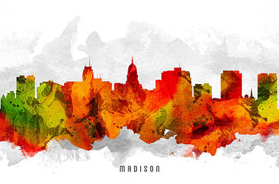 Madison Painting - Madison Wisconsin Cityscape 15 by Aged Pixel