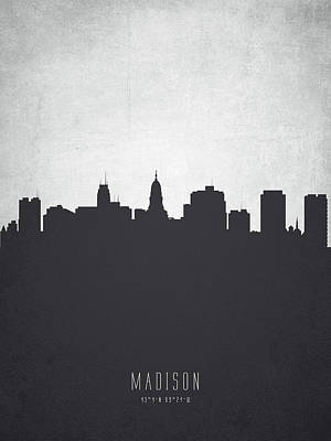 Madison Painting - Madison Wisconsin Cityscape 19 by Aged Pixel