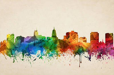 Madison Painting - Madison Wisconsin Skyline 05 by Aged Pixel