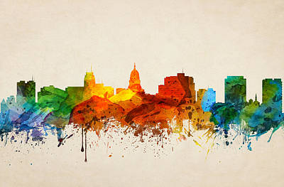 Madison Painting - Madison Wisconsin Skyline 16 by Aged Pixel