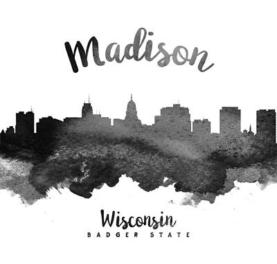 Madison Painting - Madison Wisconsin Skyline 18 by Aged Pixel