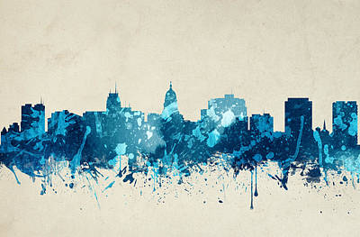 Madison Painting - Madison Wisconsin Skyline 19 by Aged Pixel